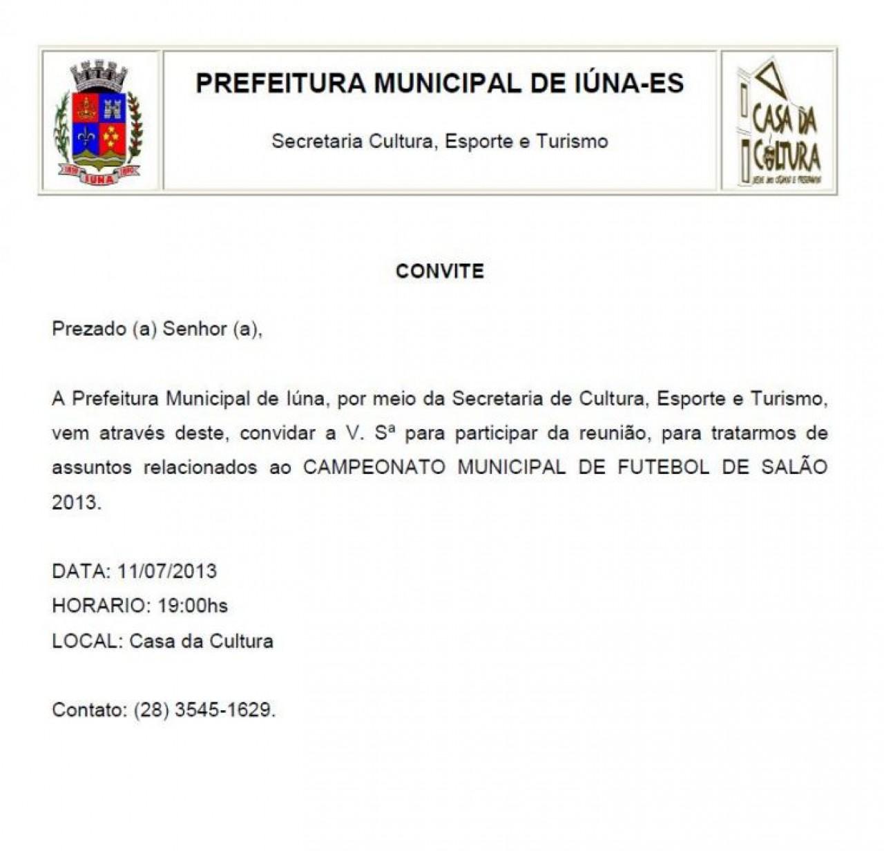 Convite Da Secretaria De Cultura Esporte E Turismo
